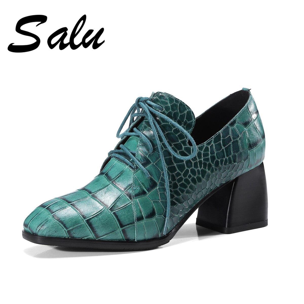Di Delle Tacco Da Up Nero Caviglia Donna Con 2019 Medio Cuoio Sposa Tacchi Genuino Donne Scarpe blu Pompe Salu Primavera Il Lace 5w6BIqn