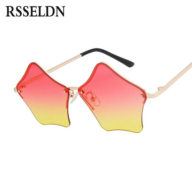 Rsseldn moda en forma de estrella Gafas de sol mujeres 2018 nuevo rosa amarillo gradiente lente Sol Gafas para las mujeres vintage rimless Shades