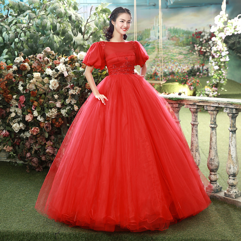 Elegant Red Solid Puff Short Sleeves Soft Tulle Party Dresses Backless Stage Performance Show Host Costumes