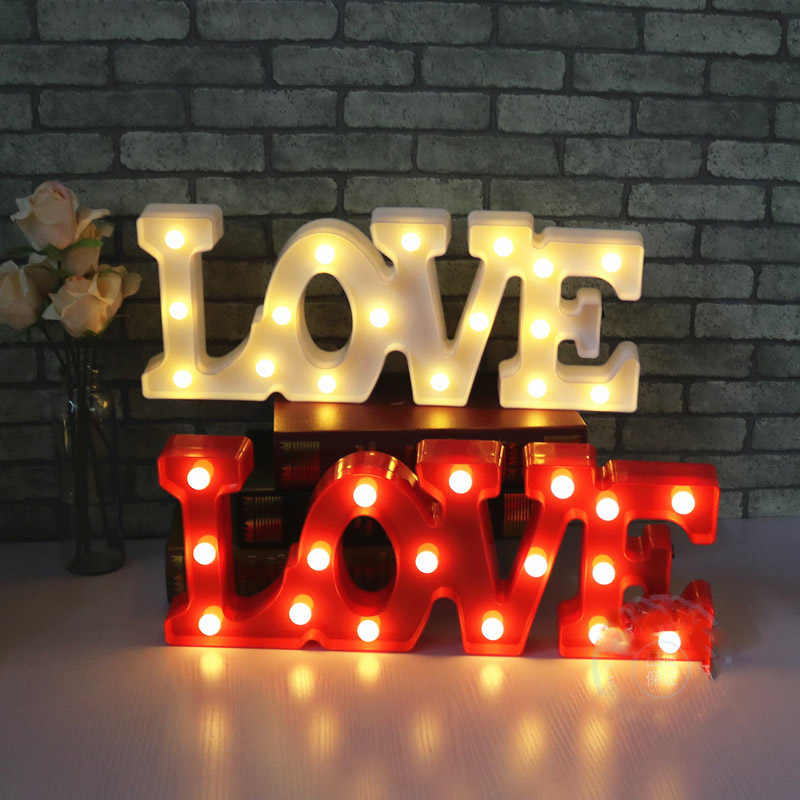 Luminaria New Romantic LOVE Letter LED Night Light Marquee