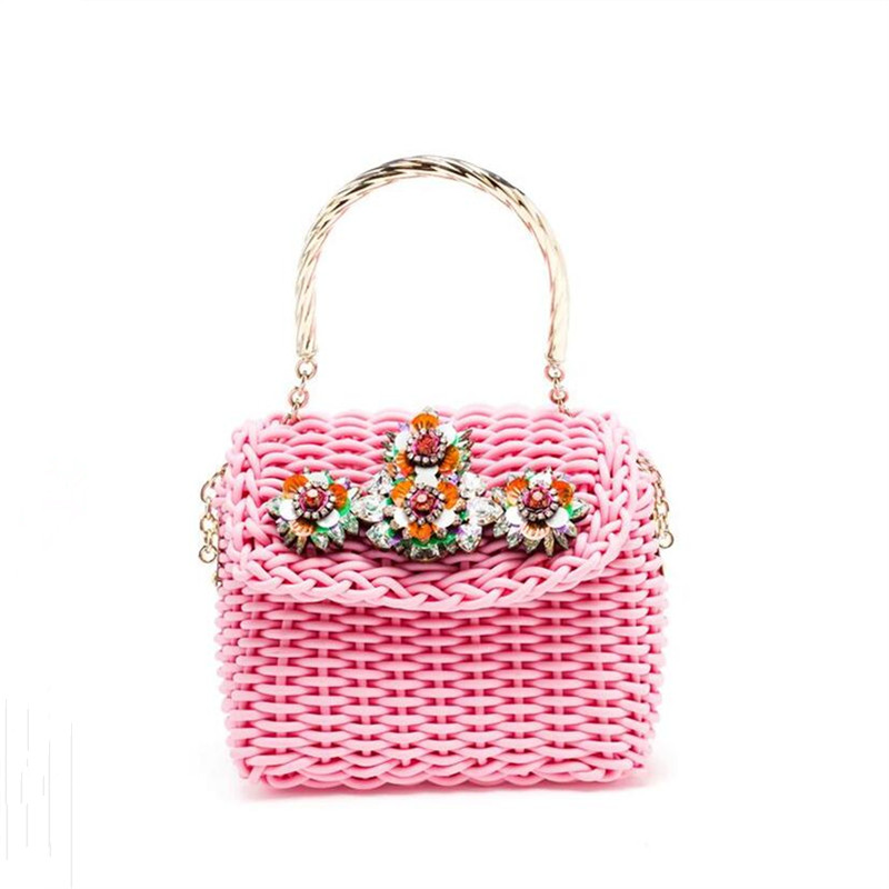 Summer candy color women handbag High-quality sweet style Metal handle women weave chain shoulder bag diamond flower small bag 2017 fashion new handbags sweet lady candy color plush small round bag high quality soft cute shoulder bag chain messenger bag