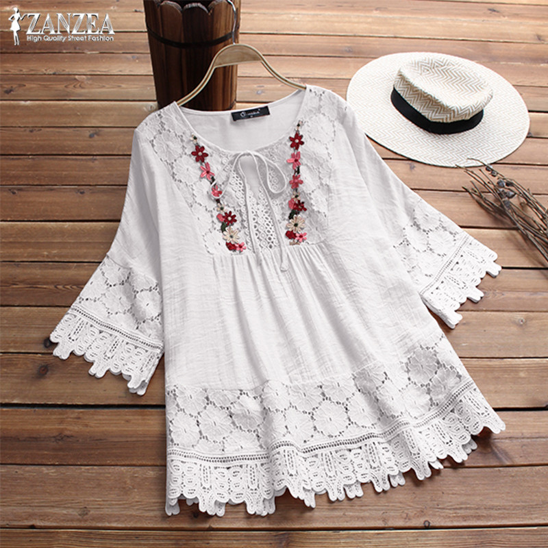 2019 ZANZEA Plus Size Lace Top Women's Embroidery Blouse Female 3/4 Flare Sleeve Shirt Female Casual Patchwork Blusa Woman Tunic(China)