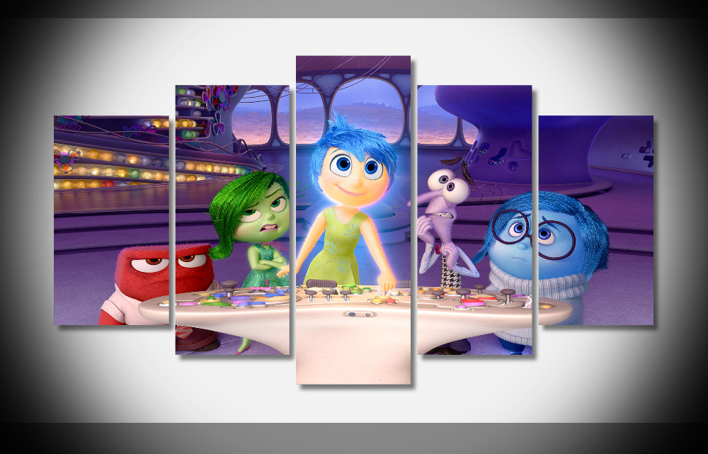 7383 inside out movie joy sadness fear anger disgust Poster Framed Gallery wrap art print home wall decor Gift wall picture