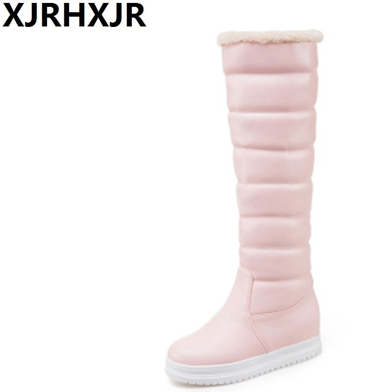 XJRHXJR Sweet Long Snow Boots for Women Fashion Wedges Heels Knee High Warm Boots Ladies  Height Increasing Winter Fur Boots 2017 new fashion with fur winter high heels over the knee high woman boots warm women shoes fashion wedges snow boots