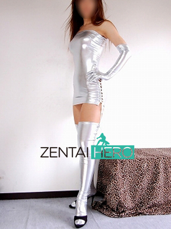 Free Shipping DHL Silver Sexy Shiny Metallic Dress Sexy Costumes Catsuit SMS08