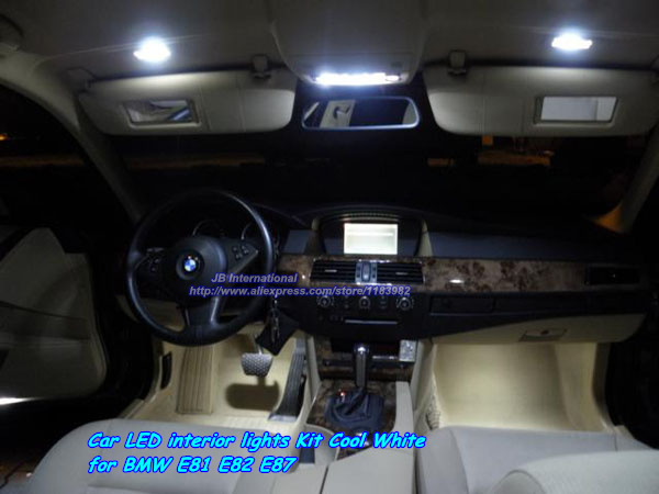 Подробнее о Car Canbus LED Interior Light Kit Cool White/White for BMW e81 e82 e87, Front+Rear Dome/Map+Mirror+Glove+Footwell+Trunk lights 20x led car auto interior canbus dome map reading light white 2835 newest chips kit for bmw e83 x3 2004 2010 81