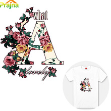 Flower Rose Letter Patches Iron On Transfers For T shirt Clothes Heat Vinyl Transfer Sticker Applique Press Paste DIY Wholesale