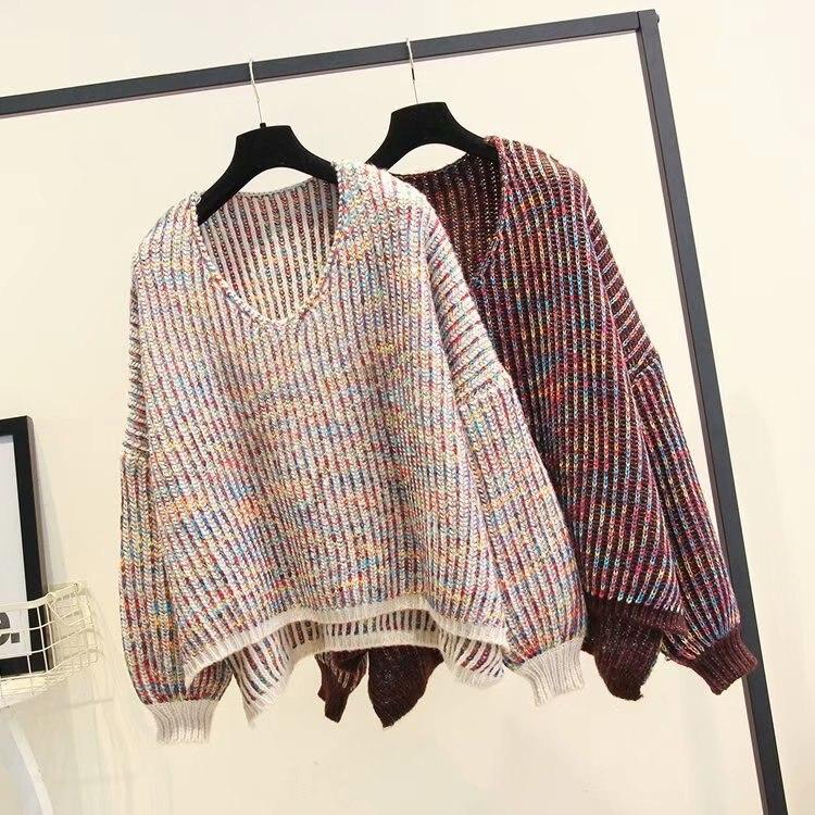 Autumn Winter V-neck Knit Long Lantern Sleeve Casual Sweater Coat Female