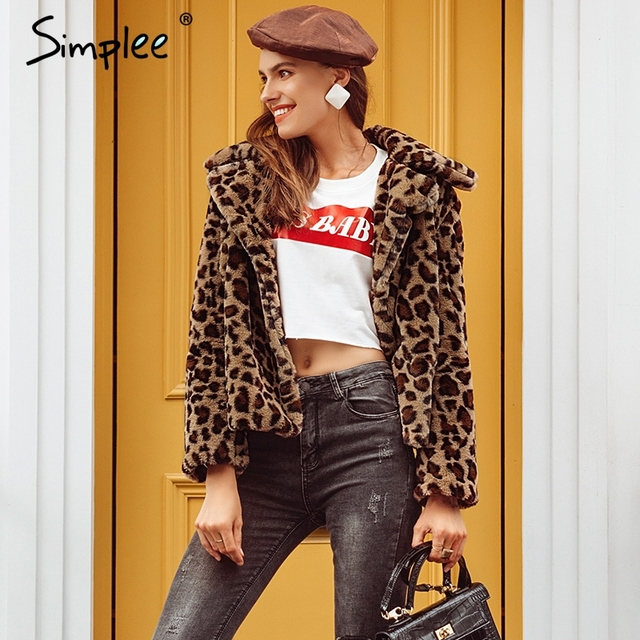 Simplee Elegant leopard print faux fur coat Women 2018 autumn winter warm soft parka overcoat Female plush casual outwear coat