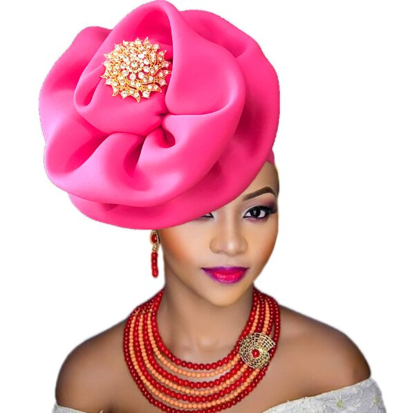 Turban africain femme african turbans with brooch flower party cap african head wraps for women