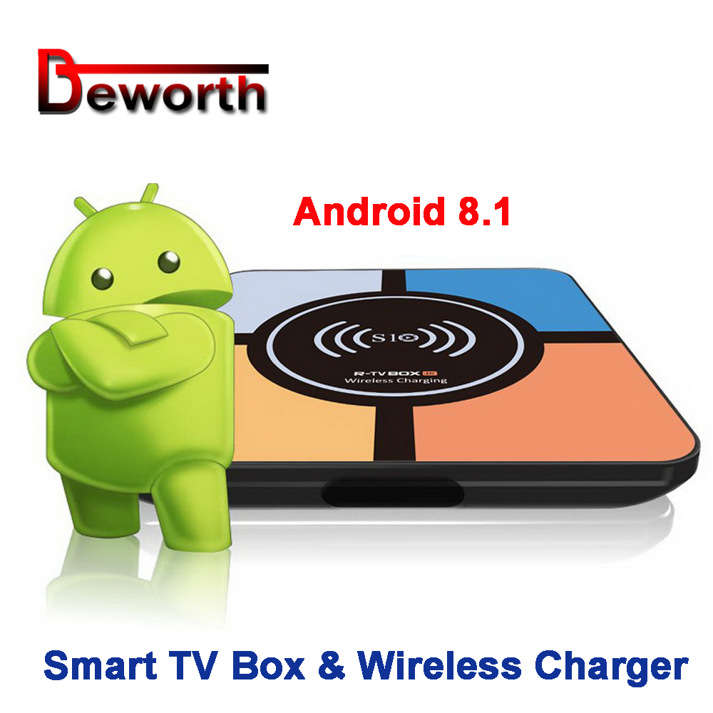 S10 Plus Android 8.1 Smart TV Box with Wireless Charger RK3328 4GB 32GB 2.4GHz Wifi 100M LAN 4K H.265 USB3.0 Smart Media Player