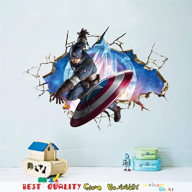 Captain america shield wall sticker kids room decoration for Decoration chambre super heros