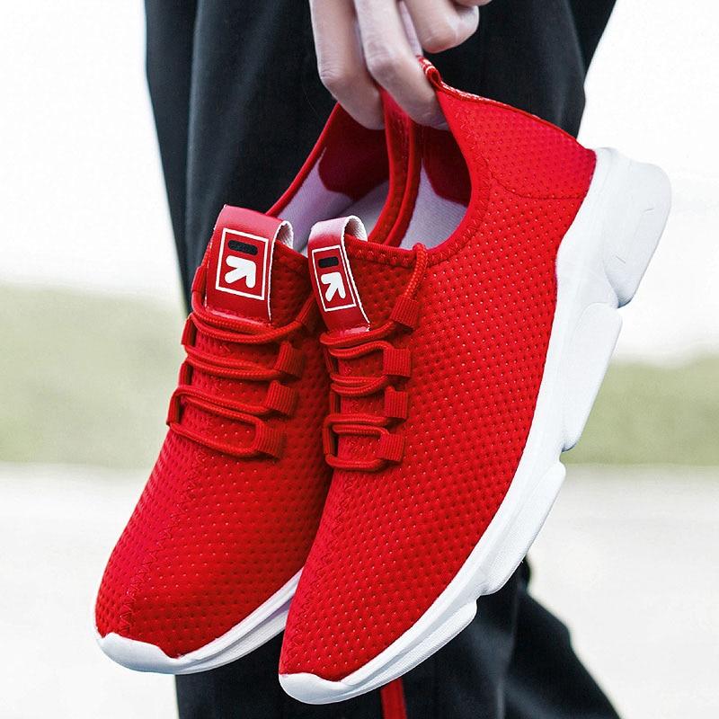 US $15.79 35% OFF|Weweya 2019 czerwone męskie trampki męskie sznurowane siatki sportowe buty wygodne oddychające buty sportowe mieszkania obuwie tanie