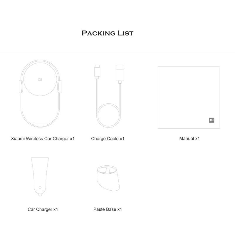 Chargeur de voiture sans fil Xiao mi Original 20 W Max pince automatique électrique 2.5D verre Qi chargeur rapide intelligent pour mi - 6