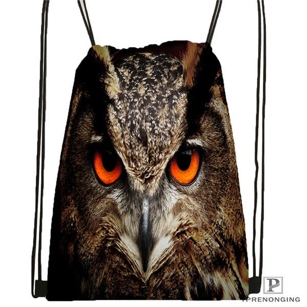 Custom Owl@02-Drawstring Backpack Bag Cute Daypack Kids Satchel (Black Back) 31x40cm#180611-03-133
