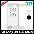 50 unids superficie curva de la cubierta completa 3d protector de pantalla de cristal templado película protectora para sony xperia xz x compacto