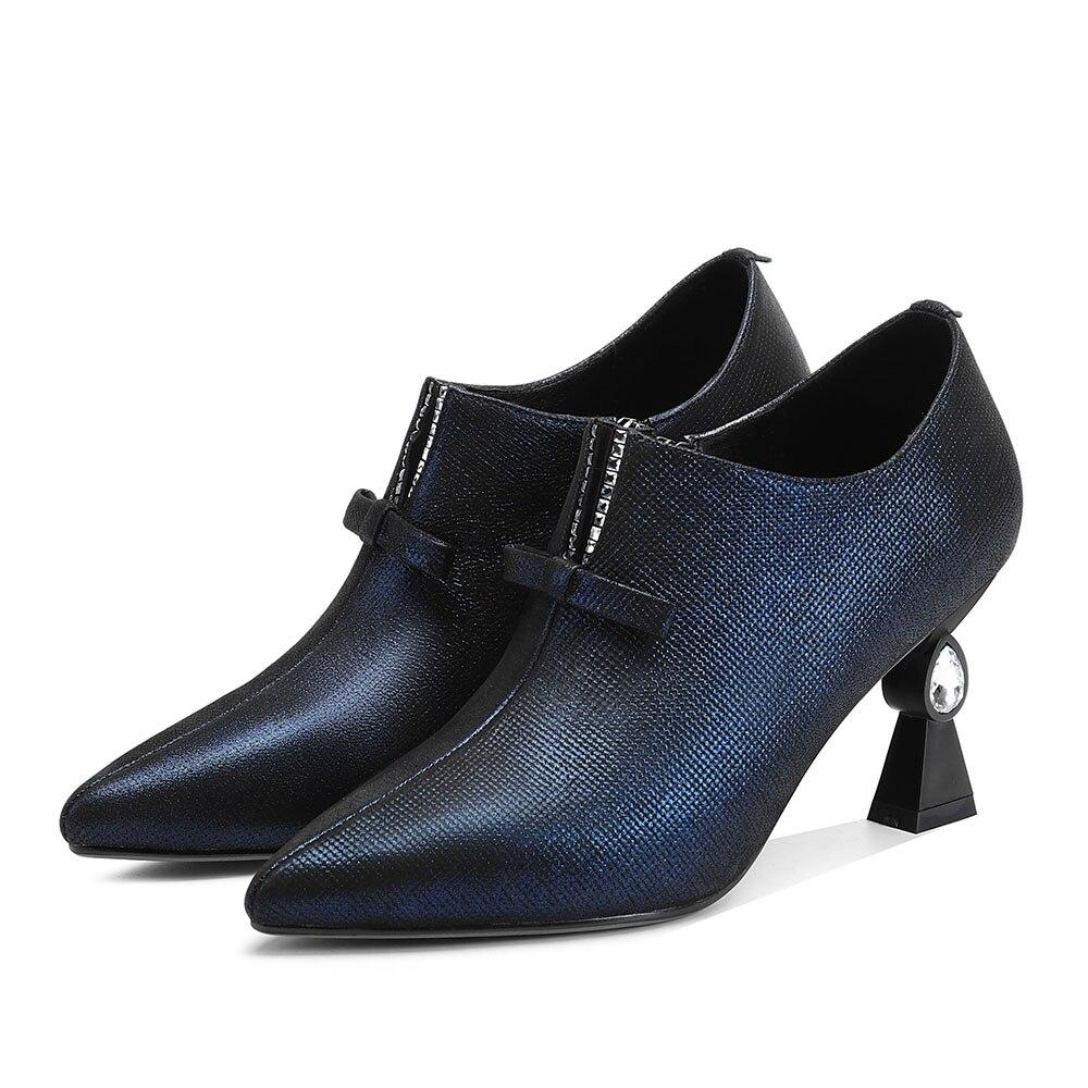 pourpre Cuir Minces Main Leepo Luxe Chaussures Femmes Taille Pompes De noeud Doux Femme Grande Bleu Talons Ladie Papillon Véritable Printemps Pourpre w7tBRxqt