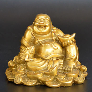 Exquisite Old Collection Handwork Brass Smile Maitreya Buddha Great Belly Buddha Statue