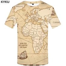 KYKU World Map T shirts Men Vintage shirt 3d Sailboat Tshirt Homme Geometric Print Tshirts Casual Short Sleeve New Rock Man