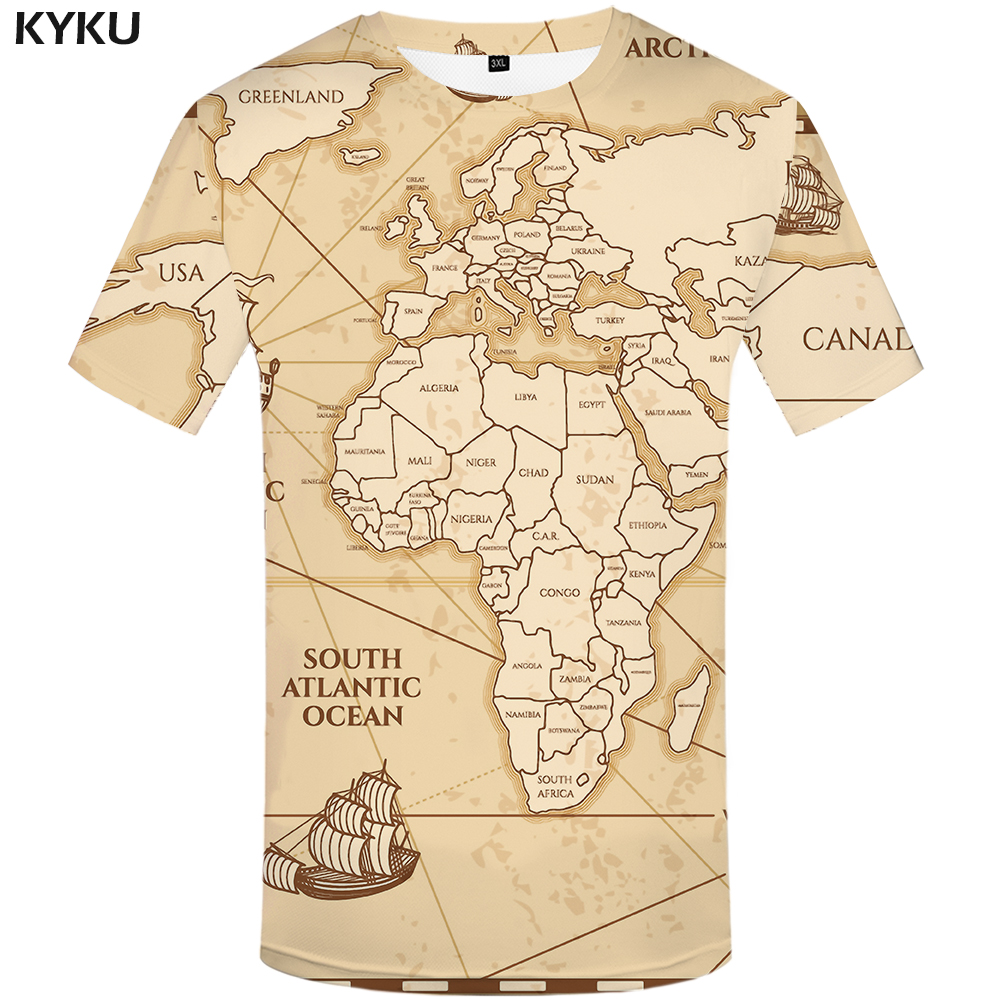 KYKU World Map   T     shirts   Men Vintage   T     shirt   3d Sailboat Tshirt Homme Geometric Print Tshirts Casual Short Sleeve New Rock Man