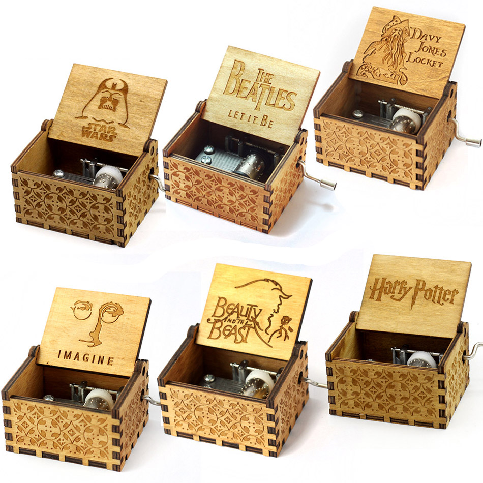 Harry Wooden Music Box Potter Game of Thrones gift for Chirstmas happy birthday new year gift children gift