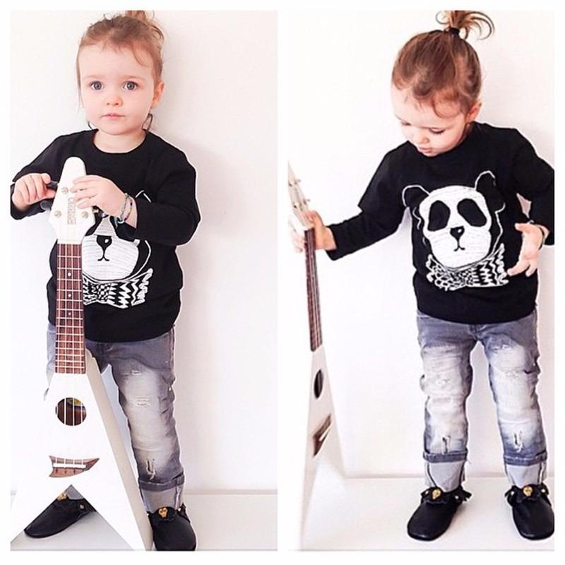 For Boys Girls Sweater T-Shirts Clothes Autumn Winter New Panda Bear Printing Tops Kids Sweatershirt  Tees Clothing Full Sleeve 14