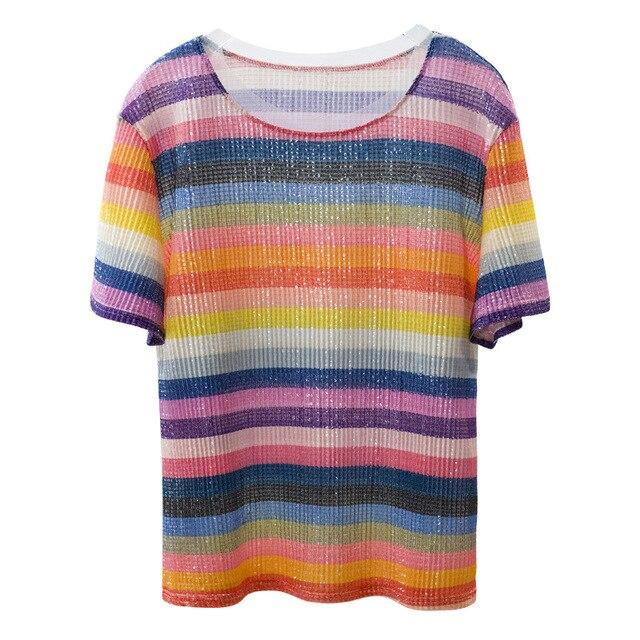 patchwork striped sequined beading t shirt women tee shirt femme 2018  glitter summer top fashion shirt 0ddaca65e184