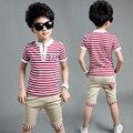 Retail 2016 summer new Boys Mickey Clothing Sets Children Cartoon Cotton Short Sleeve T Shirt+ Jeans 2pcs Suit Kids Clothes