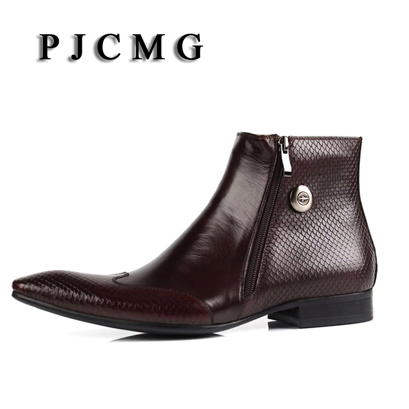 PJCMG New Cowhide Pointed Toe Genuine Leather Fashion Men's Zipper Work Bullock Patterns Oxford Dress Shoes For Men Boots