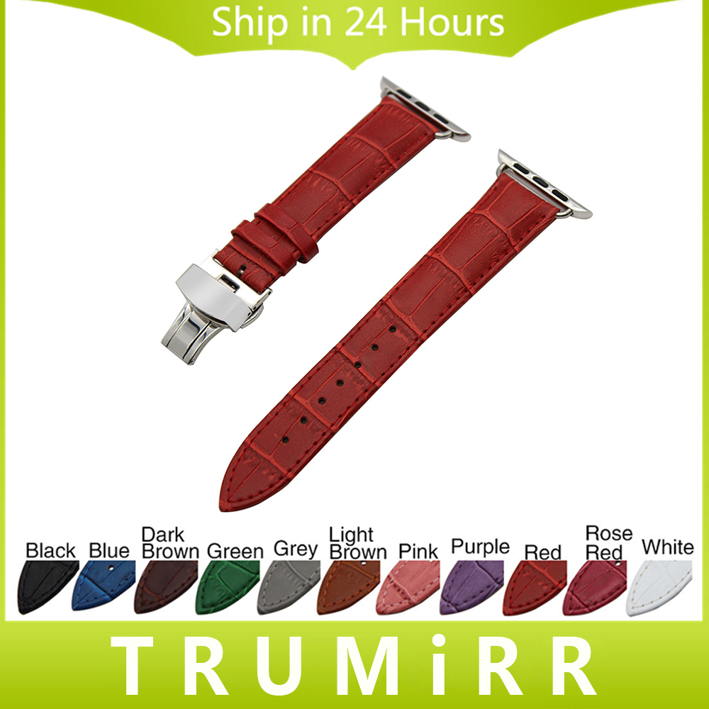 Calf Genuine Leather Watchband for 38mm 42mm iWatch Apple Watch Band Stainless Steel Butterfly Clasp Strap Wrist Belt Bracelet genuine leather watchband alligator grain for iwatch apple watch 38mm 42mm stainless steel butterfly clasp band strap bracelet