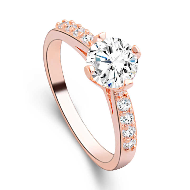 456651644 H:HYDE Elegant stylish Gold Color shiny attractive cubic zirconia lady's  ring size 7-