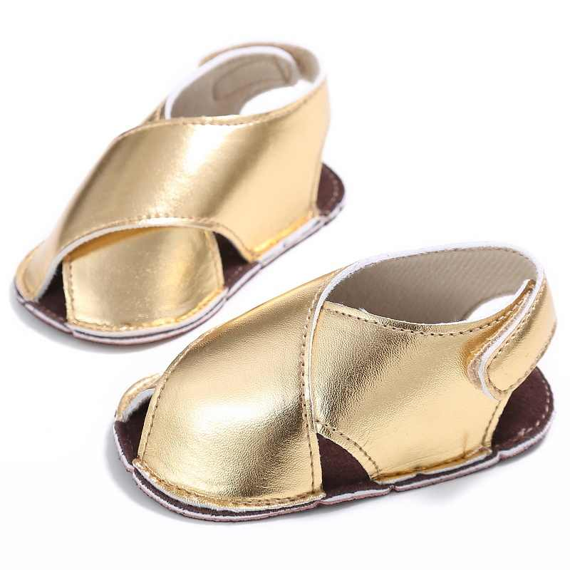2017 Summer Kids Girls PU Material First Walker Shoe Baby Solid Color Non-slip Shoes 0-18M Silver/Golden Color