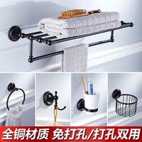 European Black Antique Towel Rack Copper soap dish Bathroom Hardware Accessories Toilet Brush Holder Towel Bar Wall Hanging