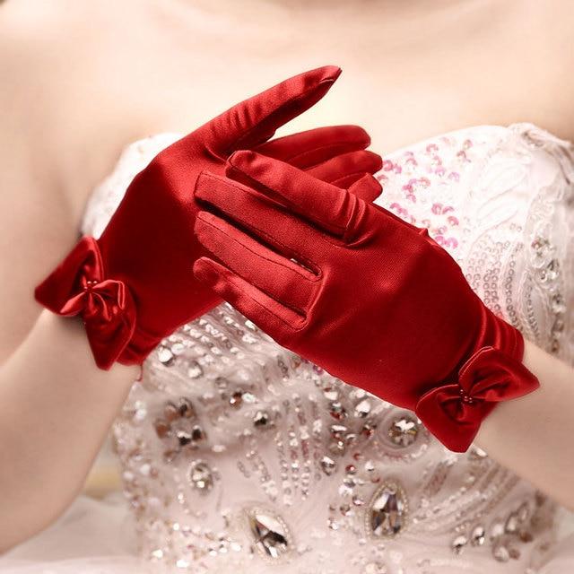 5 ピース/ロットショート赤指のフラワーガールのウエディング手袋女性ダンスパーティーパフォーマンス手袋