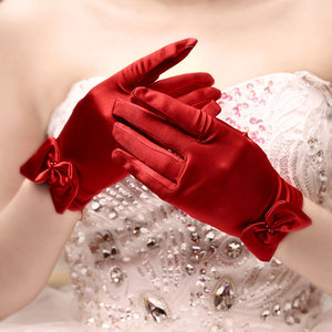 Image 1 - 5pc/lot Short red finger flower girl bridesmaid gloves women lady dancing party performance gloves