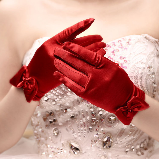 5pc/lot Short red finger flower girl bridesmaid gloves women lady dancing party performance gloves