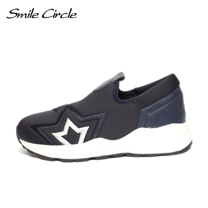 Smile Circle Spring Autumn Shoes Women Fashion Embroidery Stars Sneakers For Women Flat Casual Platform Shoes tenis feminino