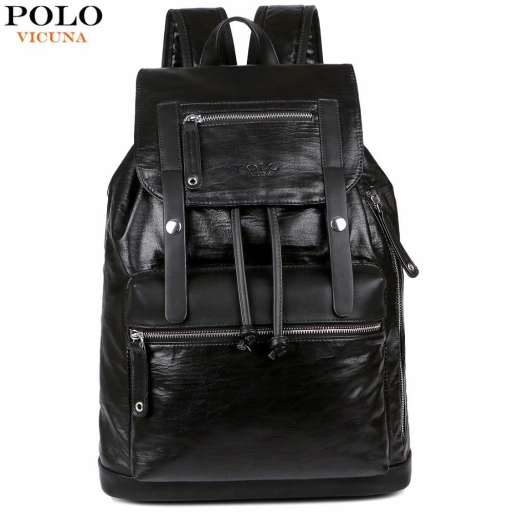 Викуньи поло Drawstring дизайн для мужчин большой ёмкость черный кожаный рюкзак сумка дорожная повседневное Daypacks бренд школьный