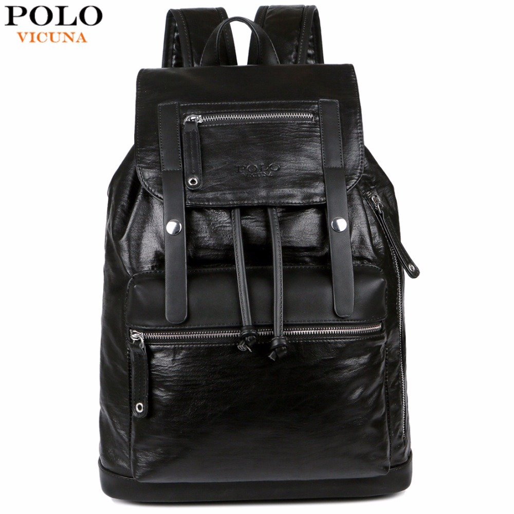 VICUNA POLO Drawstring Design Men Large Capacity Black Men's Leather Backpack Bag Travel Casual Daypacks Brand School Backpack casual drawstring waistband design black shorts for men