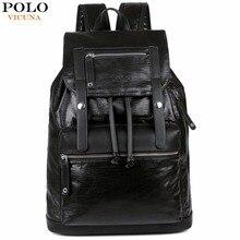 e1fe47e388536 فيكونيا بولو الرباط تصميم الرجال سعة كبيرة الأسود الرجال حقيبة ظهر من الجلد  السفر عارضة Daypacks