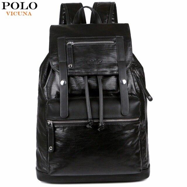 404228899835 VICUNA POLO Drawstring Design Men Large Capacity Black Men s Leather  Backpack Bag Travel Casual Daypacks Brand School Backpack