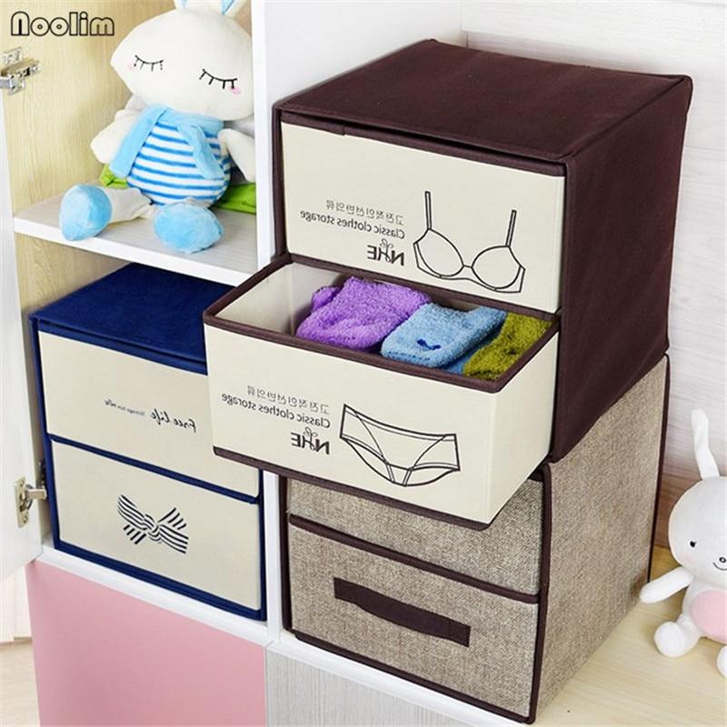 NOOLIM Double Drawers Large Capacity Storage Box Container Separate Closet Box Organizer Clothing Socks Underwear Storage Box drawer