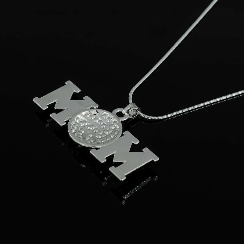 Youth Necklace Rhinestone Volleyball MOM Pendant Sports Fashion Necklace Jewlery Gifts For Team Friends 1PCS