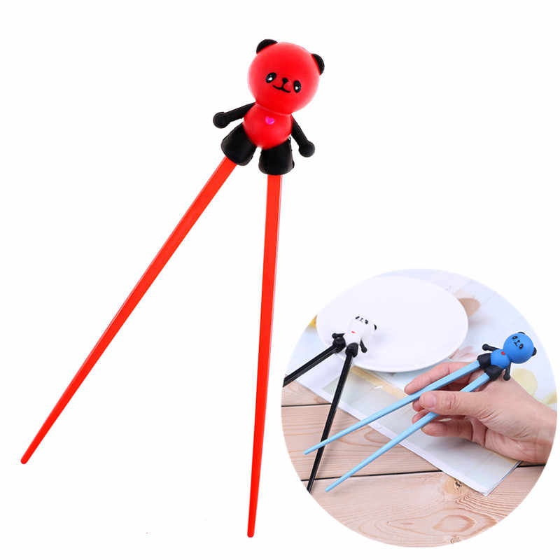1 Pair Plastic Rubber Cartoon Panda Helper Chopstick Children Baby Learning Training Chopsticks Beginner Easy Use