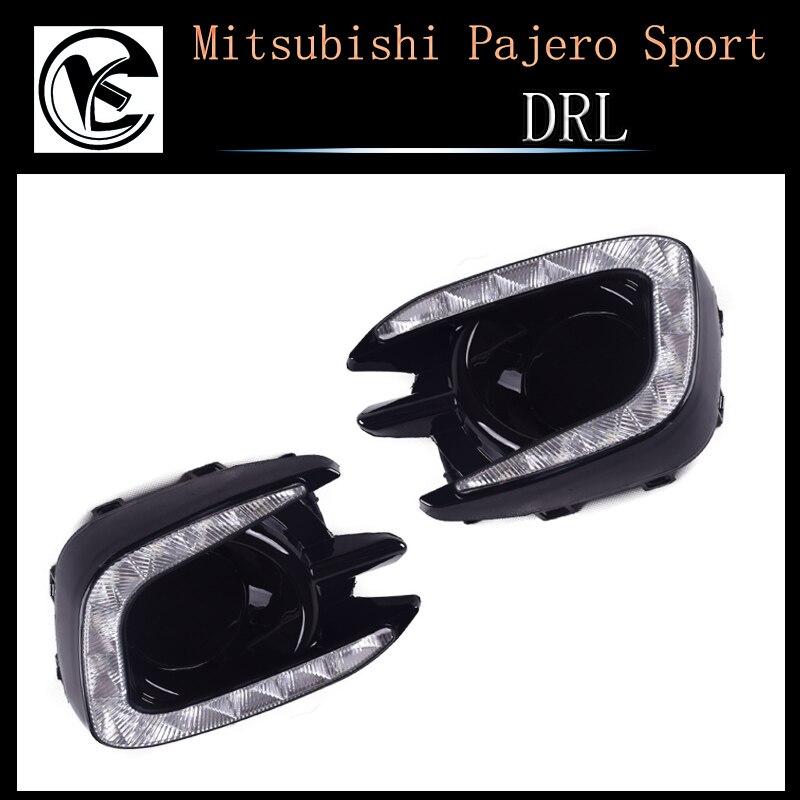 QINYI LED Daytime Running Lights for Mitsubishi Pajero Sport 2013 2014 2015 Fog lamp cover 12V