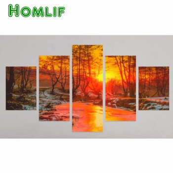 5D Diamond Painting Forest Sunset Landscape Embroidery Cross Stitch stickers Mosaic Painting Diamond Rhinestone Decoration gift