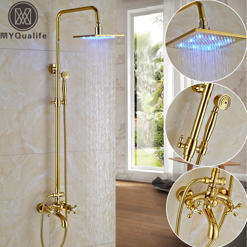 Modern LED light 12 Square Rain Shower Mixer Taps Dual Handle In Wall Tub Spout with Brass Handshower Shower Faucets