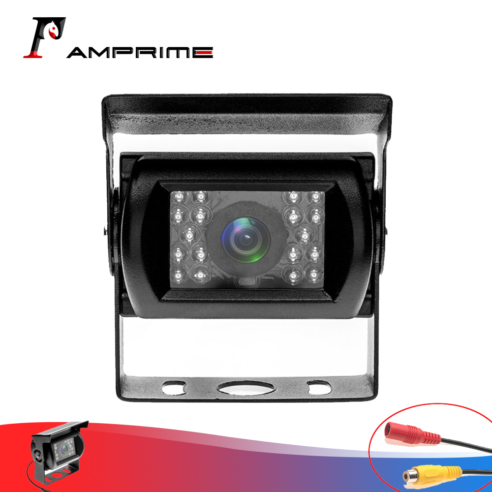 AMPrime Waterproof Rear Camera With IR Cut 18 LED Night Vision Wide Angle For Truck Lorry Pickup Vehicle Bus Without Guide Line