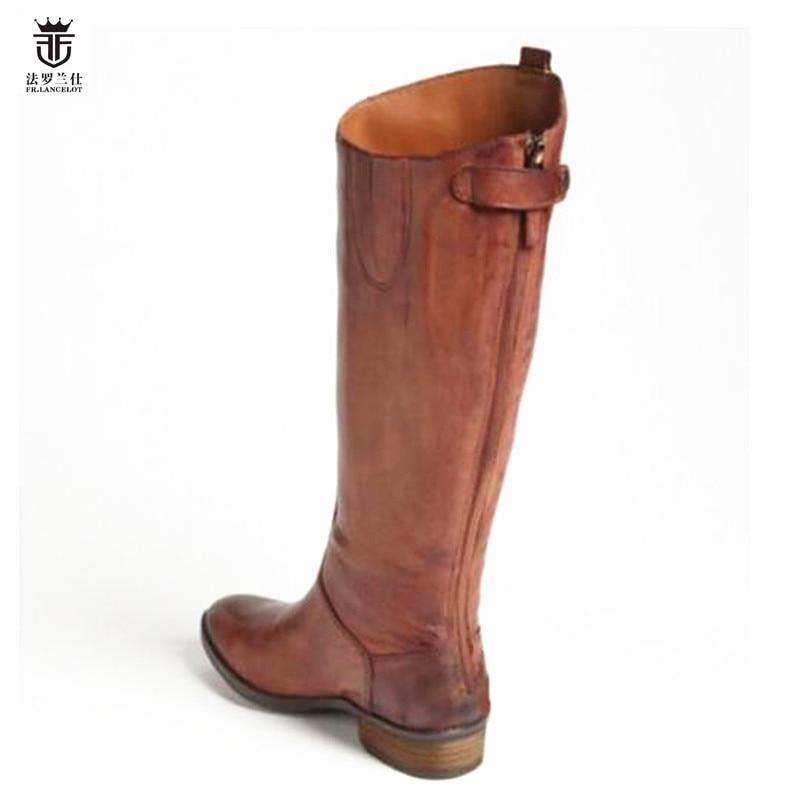 2019 FR.LANCELOT hot sale brand chelsea boots genuine leather men winter long boots luxury design zip knee high shoes men flat