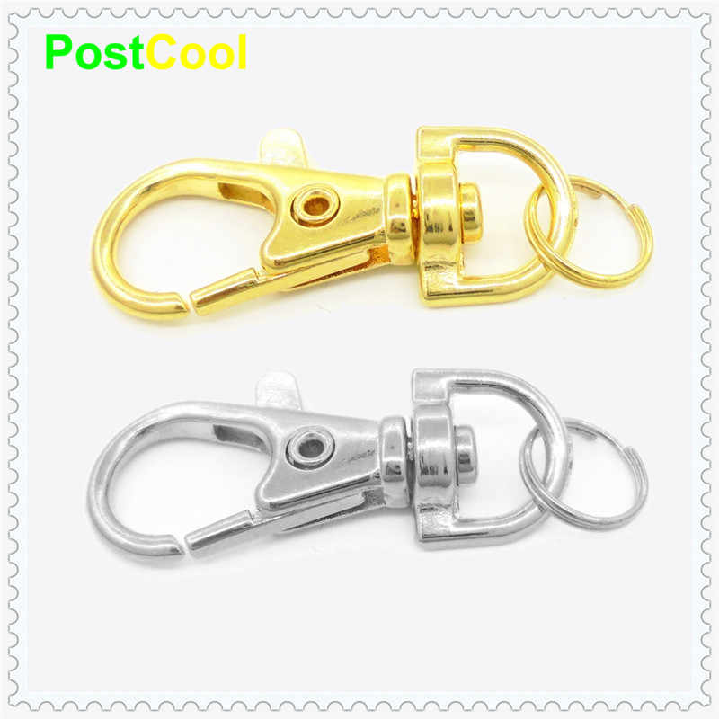 1 Pcs Gold Silver durable Metal CarabinerLobster Clasps Clip With Split ring Style for Key Chain Key Hooks Spring Key Ring